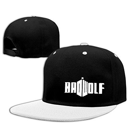 Runy Custom Adult BAD WOLF Adjustable Hip Hop Hat & Cap White