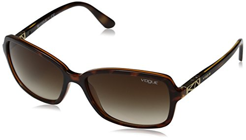 VOGUE Women's Astral Collection Rectangular Sunglasses, Top Dark Havana/Light Brown, 58 mm Vogue Collection Sunglasses