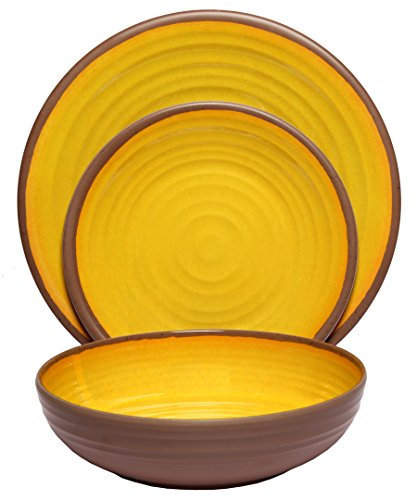 Melange 12-Piece 100% Melamine Dinnerware Set (Clay Collection) | Shatter-Proof and Chip-Resistant Melamine Plates and Bowls | Color Yellow | Dinner Plate, Salad Plate & Soup Bowl (4 (Melamine Colorful Melamine Dinnerware)