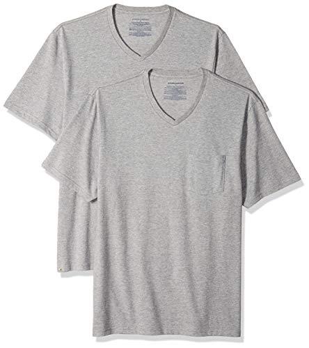 Amazon Essentials Men's 2-Pack Regular-Fit V-Neck Pocket T-Shirt, Heather Grey, - Mens And Tall Big V Neck Clothing
