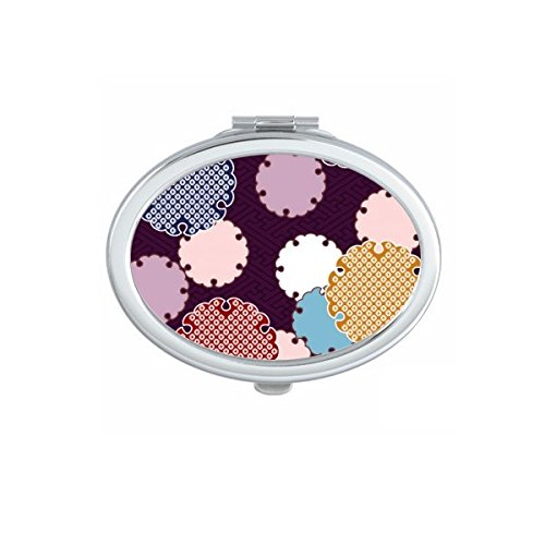Japan Culture Red Yellow Blue Pink Art Ukiyo-e Folk Tradition Abstract Repeat Illustration Pattern Oval Compact Makeup Pocket Mirror Portable Cute Small Hand Mirrors