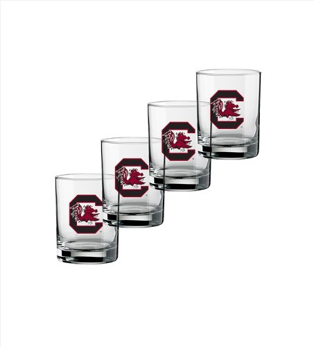 NCAA South Carolina Fighting Gamecocks Set of 4 Double Old Fashioned Glasses, (Dof Tumbler)