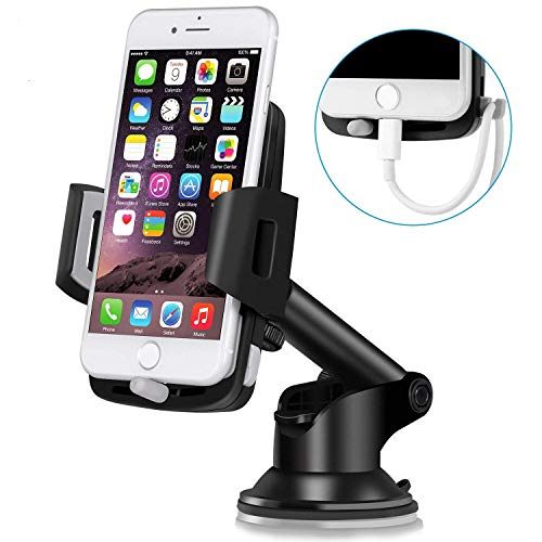 Car Mount, Cellccess Dashboard Car Phone Holder with Telescoping Long Arm/Quick Release Button/Cable Hook for iPhone X 8 8 Plus 7 7 Plus 6s 5s, Samsung Galaxy S9 S8 S8 Plus S7 and More Smartphones