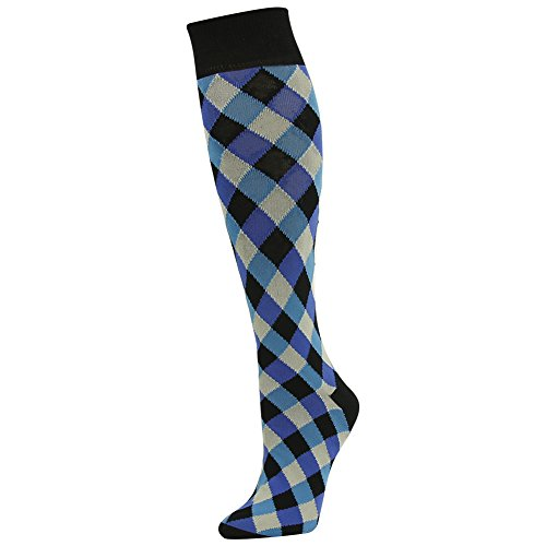 Business Suit Socks, SUTTOS Unisex Womens Mens Crazy Fun Blue Black Diamond Sharp Patterned Knee High Long Tube Over The Calf Dress Socks New Year Holiday Gift Socks,1 Pack - Womens Socks Diamond