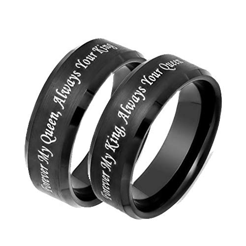 Beydodo Wedding Band Ring Sets Stainless Steel Rings His and Hers Black Ring Engraved Forever My King/Queen Women Size 7 and Men Size 10