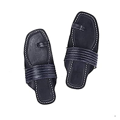 KOLHAPURI CHAPPAL Original Gorgeous Black Toe Style Slipper Sandal