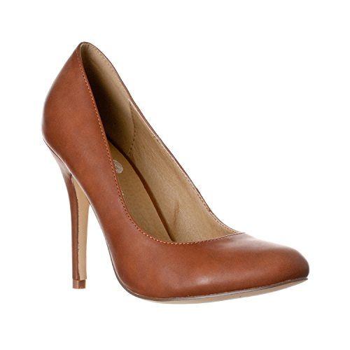 (Riverberry Women's Piper Round Toe, High Heel Pumps, Brown PU, 9)