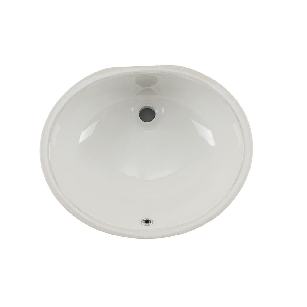Wells Sinkware RTU1916-6B Oval Vitreous Ceramic Lavatory Single Bowl Undermount Bathroom Sink, 19 x16 , Bisque