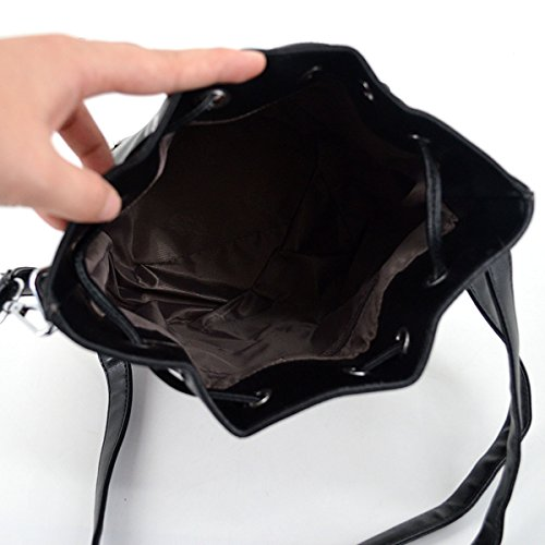 Black1 Ladies Shape Handbags Shell Bag Dome Around Zip Portable Satchel Shoulder Messenger Fashion Leather Patent Bag New Meliya FqBdTxwq