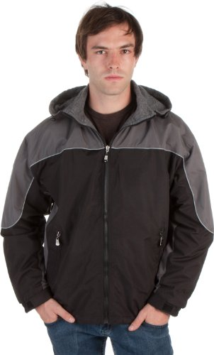 Adult Mens Two-Tone Reversible Water-Resistant Hooded Jacket ( 2 Colors )