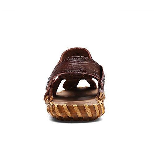 Lavorazione Morbido per Gli Pantofole Sandali in Punta Uomini sutura Manuale Scarpe Antiscivolo Resistenti Brn Spiaggia da Chiusi Pelle Ruanyi all'abrasione Chiusa Casuale Dark gSwdvqXvx