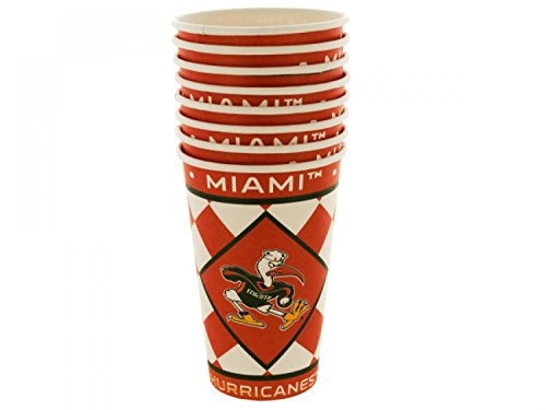 Miami Hurricanes Paper Cups Set - Set of 24, [Sports Licensed Products, Sports Licensed Products]