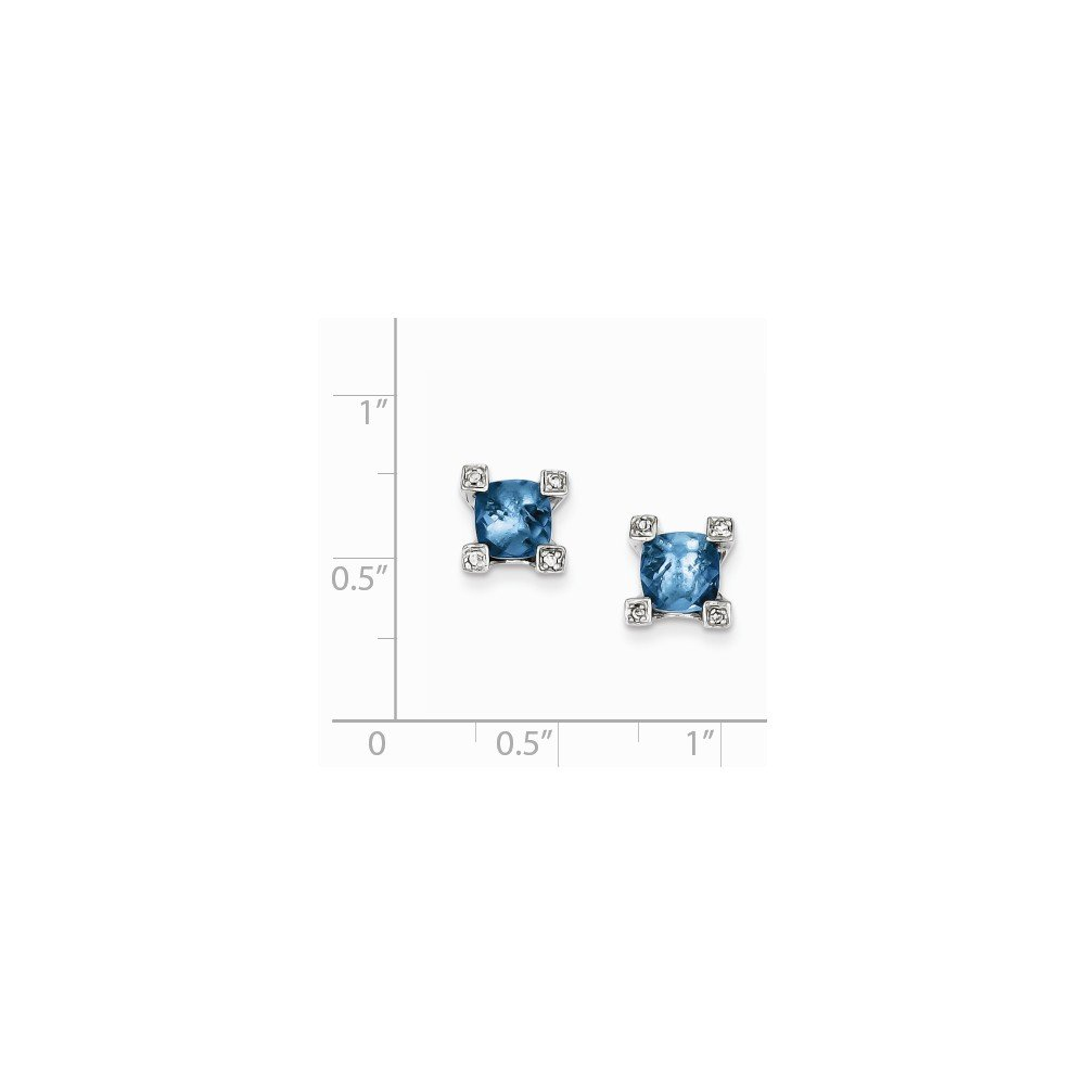 Sterling Silver Polished Post Earrings Blue and Clear Cubic Zirconia Earrings