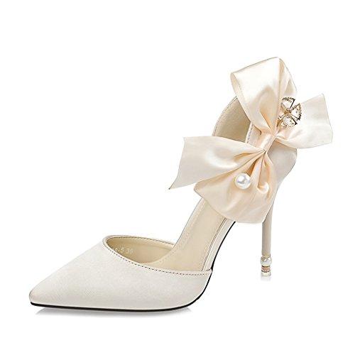 ALUK- Damenschuhe - Stöckelschuhe einzelne Schuhe beugen wilde Schuhe Perle Strass Hochzeitsschuhe ( Farbe : Grau , größe : 35-Shoes long225mm ) Light Gold