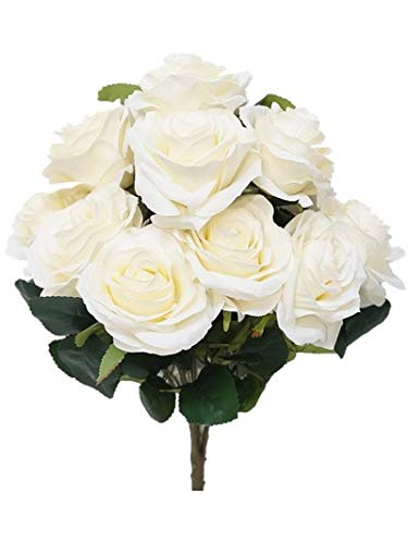Sweet Home Deco 18'' Princess Diana Rose Silk Artificial Flower Valentine's Day (10 Stems/10 Flower Heads), the Most Beautiful Roses for Wedding/Home Decor (Ivory) - Ivory Silk Rose