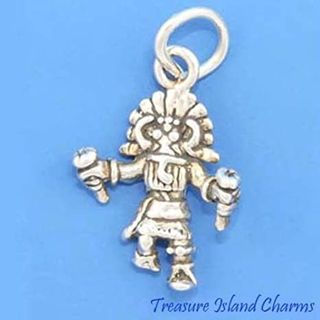 Native American Kachina Doll Dancer 3D .925 Solid Sterling Silver Charm Pendant