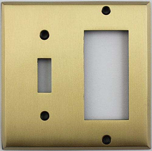 - Antique Brass 2 Gang Combo Wall Plate - 1 Toggle Light Switch 1 GFI/Rocker Opening