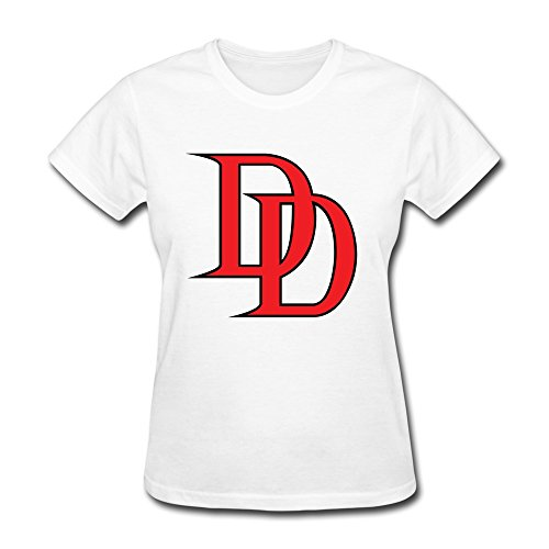 Organic Cotton Crew Neck Funny Sayings Daredevil Logo Womens T Shirt Size XXL White