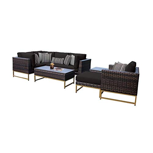 TK Classics Barcelona 8 Piece Outdoor Wicker Patio Furniture Set 08n in Black