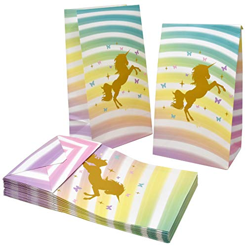 36 Unicorn Party Favor Bags for Kids Birthday Goody Bag Candy Treat Gold Design Unicorn Party Supplies Goodies Favors Decorations