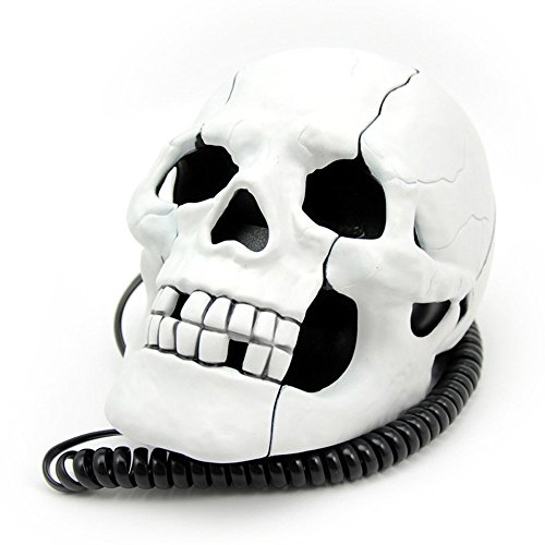 YY.LIFE New Cool Skeleton Skull Shape Novelty Wired Telephone with Led Eyes Home Office Decoration by YY.LIFE