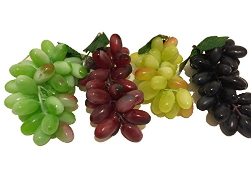 4 Bunch of Plastic Grapes - 4 Different Colors Bunch Of Grapes