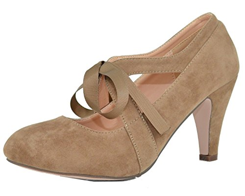 Pumps Vintage Suede (Chase & Chloe Women's Vintage Bow Mary Jane High Heel Pump (7 B(M) US, Taupe))