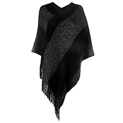 Women's Elegant Knitted Shawl Poncho with Fringed V-Neck Striped Sweater Pullover Cape Gifts for Women Mom at Women's Clothing store