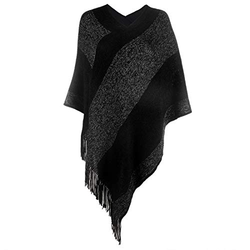 Women's Elegant Knitted Shawl Poncho with Fringed Sides V-Neck Striped Sweater Pullover Cape Black