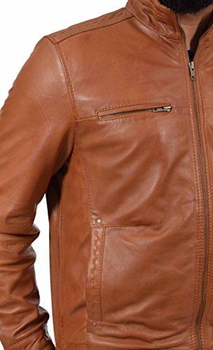 ajustada para bronceador dulce cuero Casual de genuino Felix hombres capa Biker cremallera Chaqueta estilo SqpXwvx6I