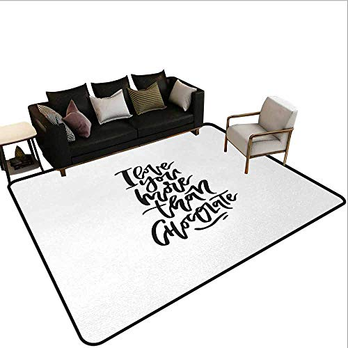 AlEASYHOME Non Slip Pad Rug Carpet, Romantic Hand Drawn Lettering Black and White Design Chocolate Phrase, 23.5