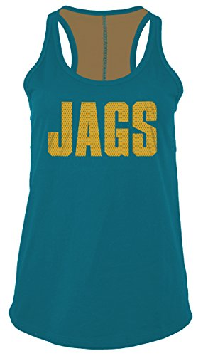 (A-Team Apparel NFL Jacksonville Jaguars Women's Baby Jersey Racer Back Tank Top with Contrasting Colors, Large,)