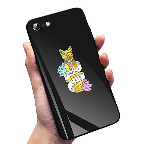 iPhone 6/6s Shockproof Case Worship Cats Kitten Sphynx Egyptian Typography Gold TPU Soft Silicone Cover Phone Cases for Apple iPhone 6 & iPhone 6s -