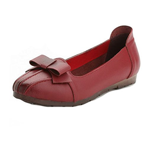 Red Shoes Wingtips On Bowknot Womens Pointed Toe Flats Loafers Slip Classic Loafer Comfort Dress Penny GIY xFqwUn6ZZ