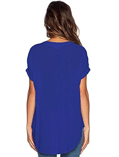 Tops de Manche Bleu Femmes Blouse Shirts Elgant Et Shirt Courte Soie Hauts Chemise Sexy V T LAEMILIA Casual Uni Col Mousseline F6wqdF