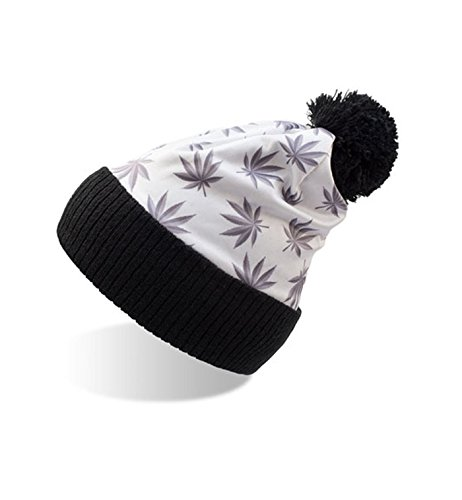 Gorro punto y y Paisley de Camuflaje diseño White Hombre Flores borla Mujer Leaves con pwq1prxt5