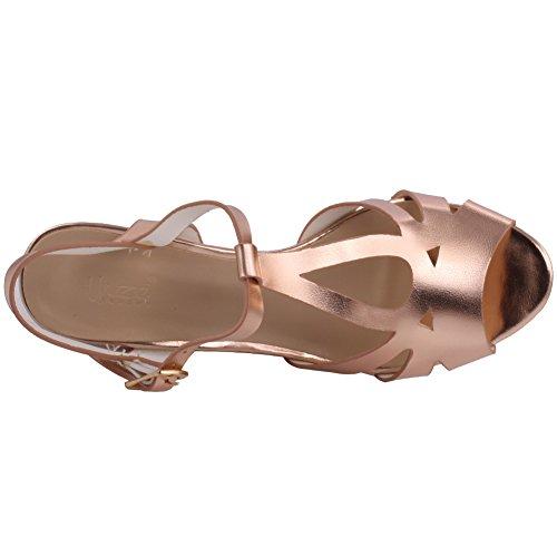 Unze Las mujeres 'Noir' parte metálica se reúnen sandalias de cuña de Carnival UK tamaño 3-8 Champaign