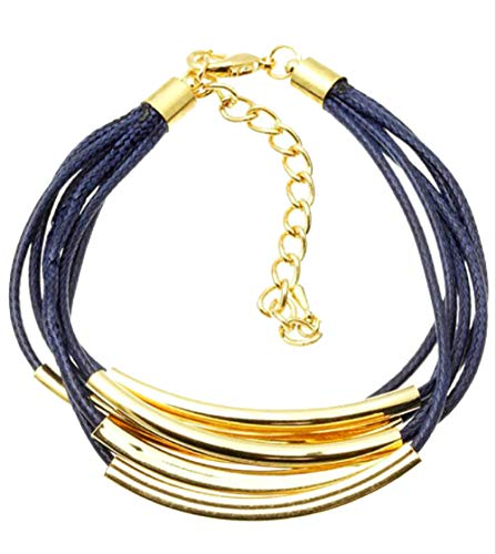 Element Jewelry 6 Strand Blue Bracelet with Yellow Gold Tone Bar & Clasp Accents- 8.5 + 3 in