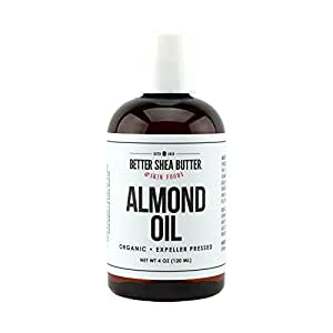 ORGANIC SWEET ALMOND OIL - 100% Pure and Unrefined - Use Alone on Hair, Face and Body - Massage Oil - Carrier oil for DIY skin care Recipes - 4 oz
