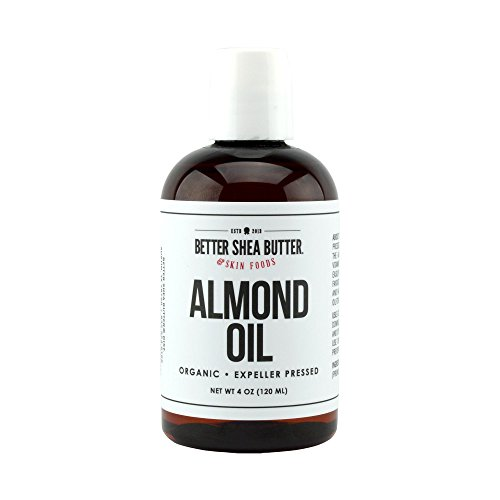 Organic Sweet Almond Oil, 100% Pure, Cold-Pressed, Non-GMO, Hexane-Free - Use as Baby Oil, Carrier Massage Oil and to Reduce Dark Circles and Wrinkles - Use to Moisturize Skin and Hair - 4 oz