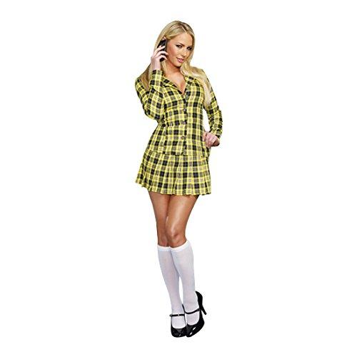 Dreamgirl Women's Fancy Girl Yellow Plaid Clueless Iggy Schoolgirl Costume, Plaid, Small -