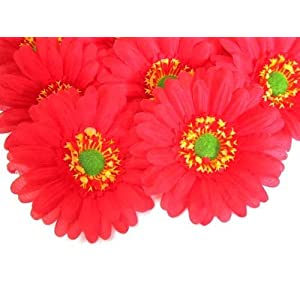 "(12) BIG Silk Red Gerbera Daisy Flower Heads , Gerber Daisies - 3.5"" - Artificial Flowers Heads Fabric Floral Supplies Wholesale Lot for Wedding Flowers Accessories Make Bridal Hair Clips Headbands Dress 17"