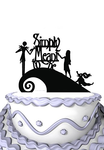 Meijiafei Wedding Cake Topper - Jack and Sally Simply Meant To Be for Anniversary Cake Decoration
