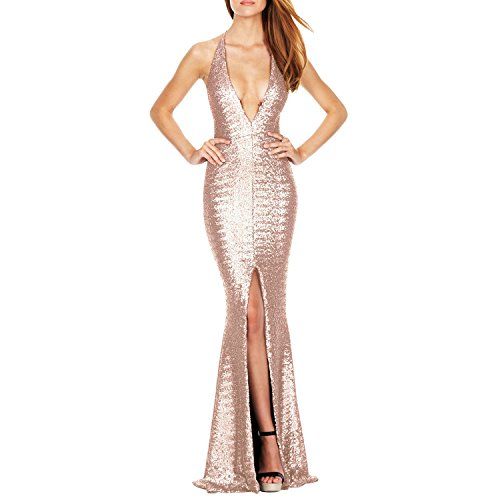 LAEMILIA Womens Vintage Deep V Neck Formal Gown Cocktail Glitter High Split  Sequin Mermaid Beaded Maxi Long Party Evening Dress - Buy Online in Oman. 0a25087af