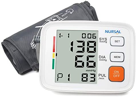 Upper Arm Blood Pressure Monitor Cuff 8.7 -16.5 by NURSAL,Digital Automatic High Blood Pressure Machine Kit with WHO Indicator,Portable Bag,2 Users 180 Reading Memories