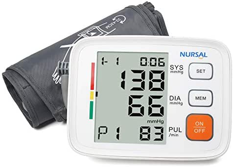 Digital Blood Pressure Monitor Cuff 8.7''-16.5'',NURSAL Upper Arm Automatic High Blood Pressure Machine Kit with WHO Indicator and Portable Bag,2 Users 180 Reading Memories