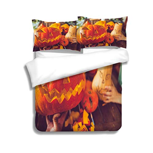MTSJTliangwan Duvet Cover Set Man Carving Spooky face on a Pumpkin in Halloween 3 Piece Bedding Set with Pillow Shams, Queen/Full, Dark Orange White Teal Coral -