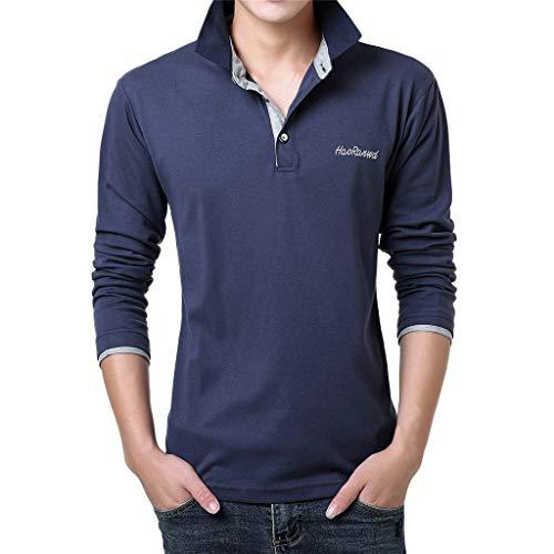 MIS1950s Mens Polo Shirts Informal Lengthy Sleeve Golf Shirts Dry Match Athletic T-Shirt Flip-Down Collar Informal Button High