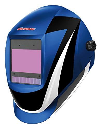 Westward Auto Darkening Welding Helmet, Black/Blue/White, Professional-Digital, 5 to 8, 8 to 13 Lens Shade - 44R232