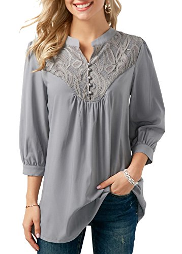 Gris Advocator Plein Baseball Lace Casual Block Longues Manches Cou Color O Avant en T Femmes Tops Chemises Blouse Shirt Up Sport Air qF1qaA